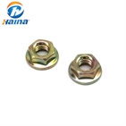 Yellow zinc plated carbon steel Hex Flange Nut